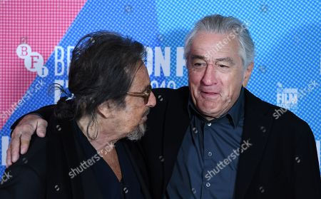 Al Pacino (L) and Robert DeNiro (R) pose at the photocall for the film premier of 'The Irishman' during the BFI London Film Festival, in London, Britain, 13 October 2019. The British Film Institute festival runs from 02 to 13 October.