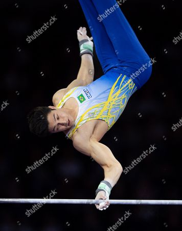 Arthur Mariano of Brazil competes in the Horizontal bar men's Apparatus Final at the FIG Artistic Gymnastics World Championships in Stuttgart, Germany, 13 October 2019.