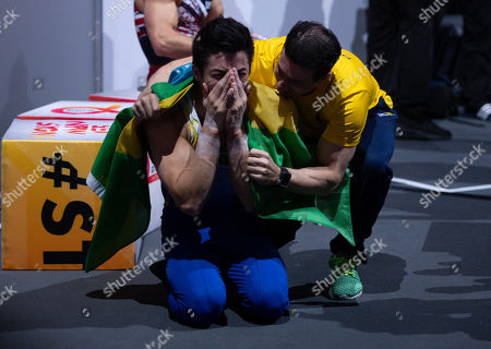 Arthur Mariano of Brazil reacts after the Horizontal bar men's Apparatus Final at the FIG Artistic Gymnastics World Championships in Stuttgart, Germany, 13 October 2019.
