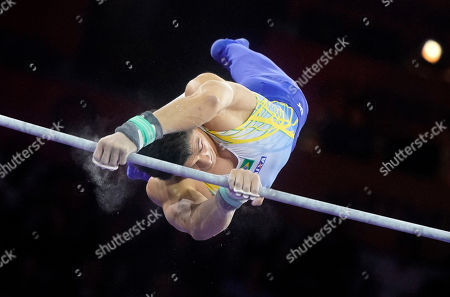 Stock Image of Arthur Mariano of Brazil competes in the Horizontal Bars men's Final at the FIG Artistic Gymnastics World Championships in Stuttgart, Germany, 13 October 2019.