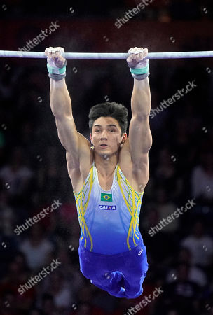 Stock Picture of Arthur Mariano of Brazil competes in the Horizontal Bars men's Final at the FIG Artistic Gymnastics World Championships in Stuttgart, Germany, 13 October 2019.