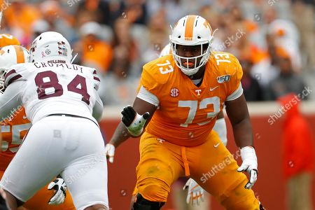 Tennessee offensive lineman Trey Smith (73) plays against Mississippi State in the second half of an NCAA college football game, in Knoxville, Tenn