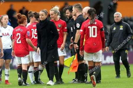 Manchester United Women head coach  Casey Stoney congratulates her players after Tottenham Hotspur Women vs Manchester United Women, Barclays FA Women's Super League Football at the Hive Stadium on 13th October 2019
