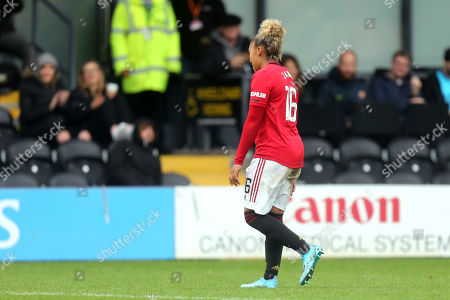 Stock Image of Lauren James of Manchester United Women leaves the pitch having been sent off during Tottenham Hotspur Women vs Manchester United Women, Barclays FA Women's Super League Football at the Hive Stadium on 13th October 2019