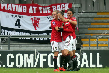 Jane Ross of Manchester United Women is congratulated after scoring the third goal during Tottenham Hotspur Women vs Manchester United Women, Barclays FA Women's Super League Football at the Hive Stadium on 13th October 2019