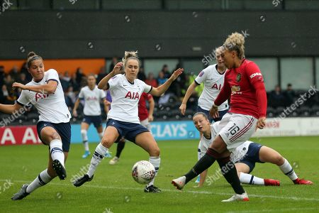 Lauren James of Manchester United Women goes close in the opening minute during Tottenham Hotspur Women vs Manchester United Women, Barclays FA Women's Super League Football at the Hive Stadium on 13th October 2019