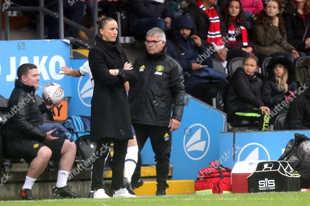 Manchester United Women head coach  Casey Stoney during Tottenham Hotspur Women vs Manchester United Women, Barclays FA Women's Super League Football at the Hive Stadium on 13th October 2019