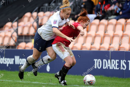 Martha Harris of Manchester United Women and Rachel FurnessÊof Tottenham Hotspur Women during Tottenham Hotspur Women vs Manchester United Women, Barclays FA Women's Super League Football at the Hive Stadium on 13th October 2019