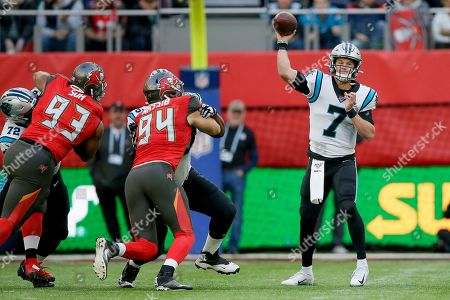 Carolina Panthers quarterback Kyle Allen (7) passes against the Tampa Bay Buccaneers during the fourth quarter of an NFL football game, at Tottenham Hotspur Stadium in London