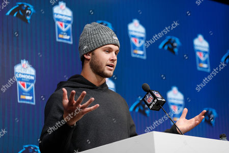 Carolina Panthers quarterback Kyle Allen answers questions during a news conference after playing against the Tampa Bay Buccaneers in an NFL football game, at Tottenham Hotspur Stadium in London