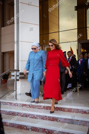 Stock Picture of Her Majesty Queen Rania joined His Majesty King Abdullah II on a working trip to Cairo where she met with Mrs. Entissar El Sisi, wife of Egyptian President Abdel Fattah al-Sisi.