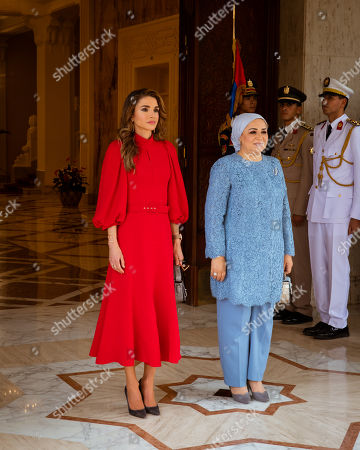 Stock Image of Her Majesty Queen Rania joined His Majesty King Abdullah II on a working trip to Cairo where she met with Mrs. Entissar El Sisi, wife of Egyptian President Abdel Fattah al-Sisi.