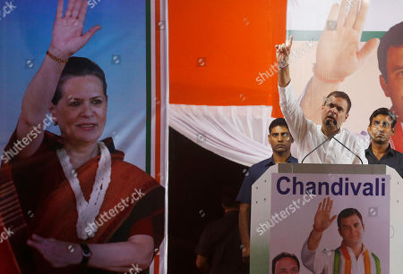 India's opposition Congress party leader Rahul Gandhi address an election campaign rally ahead of Maharashtra state elections in Mumbai, India, Sunday, Oct, 13, 2019. The polling is scheduled to be held on October 21