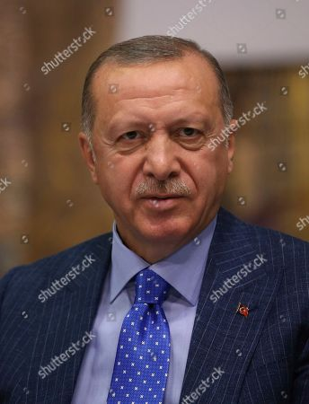 Stock Image of Turkey's President Recep Tayyip Erdogan speaks to Turkish journalists, in Istanbul, . Erdogan has rejected offers for mediation with Syrian Kurdish fighters as the Turkish military continues its offensive against them in northern Syria