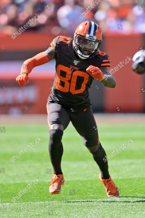 Cleveland Browns wide receiver Jarvis Landry runs a route during the first half of an NFL football game against the Seattle Seahawks, in Cleveland