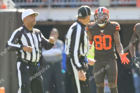 Cleveland Browns wide receiver Jarvis Landry (80) reacts after he was called for an illegal blindside block during an NFL football game against the Seattle Seahawks, in Cleveland. The Seahawks won 32-28