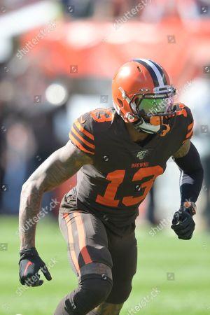 Cleveland Browns wide receiver Odell Beckham Jr. (13) runs a route during an NFL football game against the Seattle Seahawks, in Cleveland. The Seahawks won 32-28