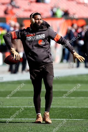 Cleveland Browns wide receiver Odell Beckham Jr. warms up before an NFL football game against the Seattle Seahawks, in Cleveland
