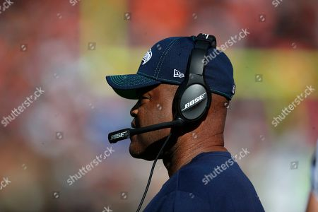 Seattle Seahawks defensive coordinator Ken Norton Jr. watches the Seahawks play the Cleveland Browns during an NFL football game, in Cleveland