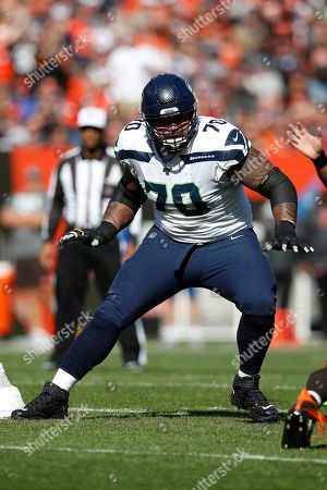 Seattle Seahawks offensive guard Mike Iupati (70) sets to block against the Cleveland Browns during an NFL football game, in Cleveland