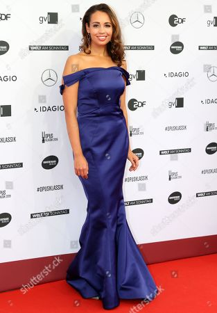 Stock Image of US soprano Nadine Sierra arrives on the red carpet for the 'Opus Klassik' award ceremony at the Konzerthaus music hall in Berlin, Germany, 13 October 2019. The Opus Klassik is a German classical music prize, presented in 24 categories.
