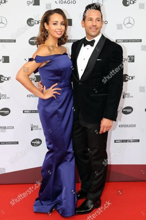 US soprano Nadine Sierra (L) and guest arrive on the red carpet for the 'Opus Klassik' award ceremony at the Konzerthaus music hall in Berlin, Germany, 13 October 2019. The Opus Klassik is a German classical music prize, presented in 24 categories