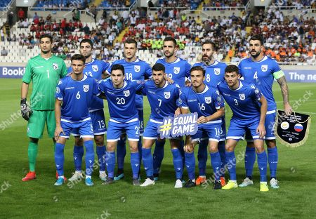 Cyprus players pose for a team picture before the Euro 2020 group I qualifying soccer match between Cyprus and Russia at Georges St-Pierre stadium in Nicosia, Cyprus
