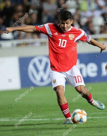 Russia's Ilzat Akhmetov kicks the ball during the Euro 2020 group I qualifying soccer match between Cyprus and Russia at Georges St-Pierre stadium in Nicosia, Cyprus