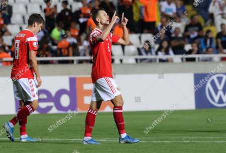 Denis Cheryshev of Russia celebrates after scoring a goal during the UEFA EURO 2020, Group I qualifying soccer match between Cyprus and Russia at the GSP stadium in Nicosia, Cyprus, 13 October 2019.
