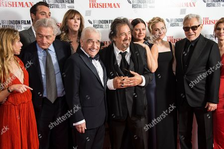 India Ennenga, Robert de Niro, Jane Rosenthal, Martin Scorsese, Al Pacino, Emma Tillinger Koskoff, Anna Paquin, Harvey Keitel, Welker White. India Ennenga, from left to right, Robert de Niro, Jane Rosenthal, Martin Scorsese, Al Pacino, Emma Tillinger Koskoff, Anna Paquin, Harvey Keitel and Welker White pose for photographers upon arrival at the premiere of the film 'The Irishman' as part of the London Film Festival, in central London