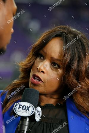 Fox Sports reporter Pam Oliver interviews Minnesota Vikings wide receiver Stefon Diggs after an NFL football game between the Vikings and the Philadelphia Eagles, in Minneapolis. The Vikings won 38-20