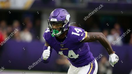 Minnesota Vikings wide receiver Stefon Diggs runs a pass route during the first half of an NFL football game against the Philadelphia Eagles, in Minneapolis