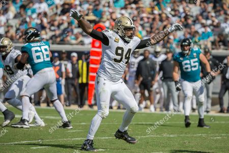 Stock Picture of New Orleans Saints defensive end Cameron Jordan (94) plays defense against the Jacksonville Jaguars during the second half of an NFL football game, in Jacksonville, Fla