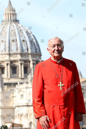 Archbishop of Westminster and President of the Catholic Bishops' Conference of England and Wales Vincent Gerard Nichols poses in front the St. Peter's Basilica during a reception for the Cardinal Newman Canonization at Pontifical Urban College, in Vatican City, Vatican. Pope Francis on Sunday canonized Cardinal John Henry Newman, the 19th-century Anglican convert who became an immensely influential, unifying figure in both the Anglican and Catholic churches