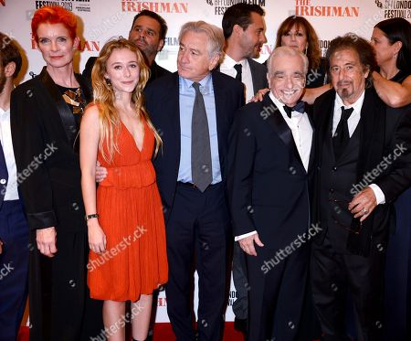 Sandy Powell, India Ennenga, Robert De Niro, Martin Scorsese and Al Pacino