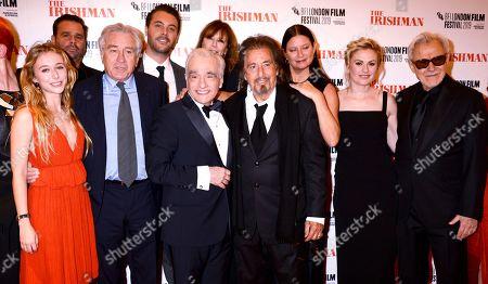 Sandy Powell, India Ennenga, Robert De Niro, Martin Scorsese, Al Pacino, Emma Tillinger Koskoff, Anna Paquin and Harvey Keitel