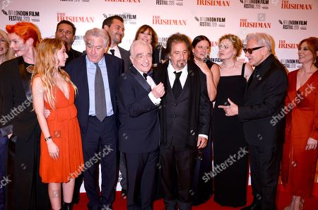 Sandy Powell, India Ennenga, Robert De Niro, Martin Scorsese, Al Pacino, Emma Tillinger Roskoff, Anna Paquin Harvey Keitel and Welker White