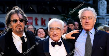 Stock Photo of Al Pacino, US film director Martin Scorsese and US actor/cast member Robert DeNiro arrive for the premiere of the movie 'The Irishman' at the 2019 BFI London Film Festival, in London, Britain, 13 October 2019. The British Film Institute festival runs from 02 to 13 October.