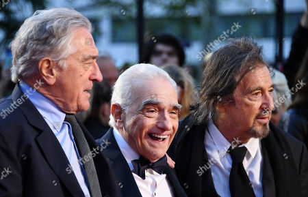 Robert DeNiro, US film director Martin Scorsese and US actor/cast member Al Pacino arrive for the premiere of the movie 'The Irishman' at the 2019 BFI London Film Festival, in London, Britain, 13 October 2019. The British Film Institute festival runs from 02 to 13 October.