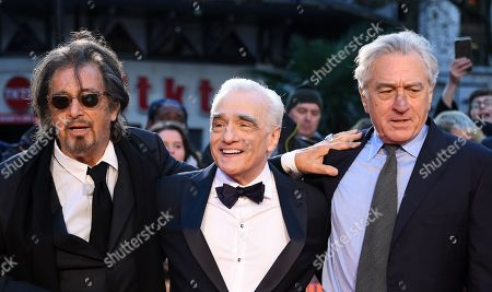 Stock Image of Al Pacino, US film director Martin Scorsese and US actor/cast member Robert DeNiro arrive for the premiere of the movie 'The Irishman' at the 2019 BFI London Film Festival, in London, Britain, 13 October 2019. The British Film Institute festival runs from 02 to 13 October.