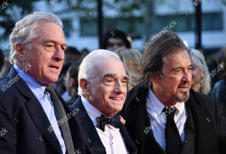 Stock Picture of Robert DeNiro, US film director Martin Scorsese and US actor/cast member Al Pacino arrive for the premiere of the movie 'The Irishman' at the 2019 BFI London Film Festival, in London, Britain, 13 October 2019. The British Film Institute festival runs from 02 to 13 October.