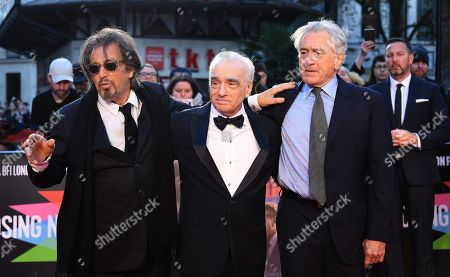 Al Pacino, US film director Martin Scorsese and US actor/cast member Robert DeNiro arrive for the premiere of the movie 'The Irishman' at the 2019 BFI London Film Festival, in London, Britain, 13 October 2019. The British Film Institute festival runs from 02 to 13 October.