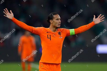 Netherlands' Virgil van Dijk gestures during the Euro 2020 group C qualifying soccer match between Belarus and Netherlands at the Dinamo stadium in Minsk, Belarus