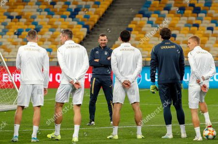 Ukrainian head coach Andriy Shevchenko (C) attends a training session in Kiev, Ukraine, 13 October 2019. Ukraine will face Portugal in the UEFA Euro 2020 qualifying, group B, soccer match in Kiev on 14 October 2019.