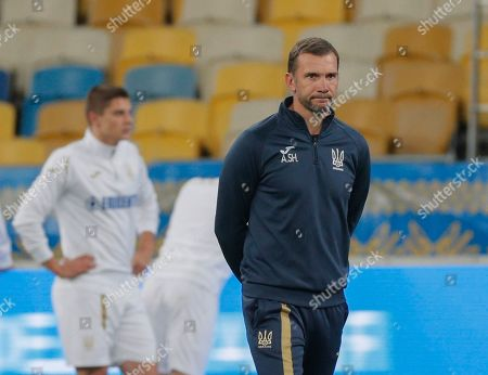 Ukrainian head coach Andriy Shevchenko (C) attends a training session of his team in Kiev, Ukraine, 13 October 2019. Ukraine will face Portugal in the UEFA Euro 2020 qualifying, group B, soccer match in Kiev on 14 October 2019.