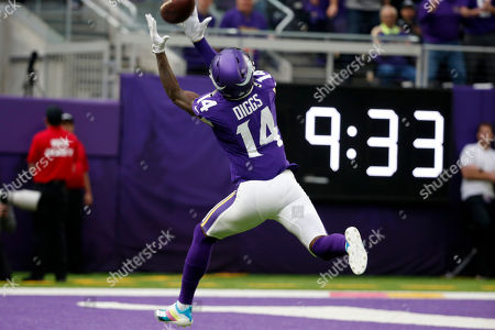 Stock Image of Minnesota Vikings wide receiver Stefon Diggs catches a 51-yard touchdown pass during the first half of an NFL football game against the Philadelphia Eagles, in Minneapolis