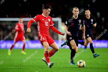 Harry Wilson of Wales is marked by Domagoj Vida of Croatia