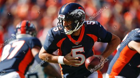 Denver Broncos quarterback Joe Flacco during the first half of an NFL football game against the Tennessee Titans, in Denver
