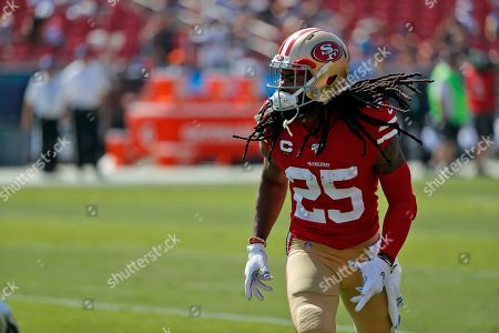 San Francisco 49ers' Richard Sherman (25) warms up before an NFL football game against the Los Angeles Rams, in Los Angeles