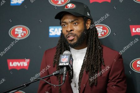 San Francisco 49ers cornerback Richard Sherman answers questions during a post game press conference after an NFL football game against the Los Angeles Rams, in Los Angeles